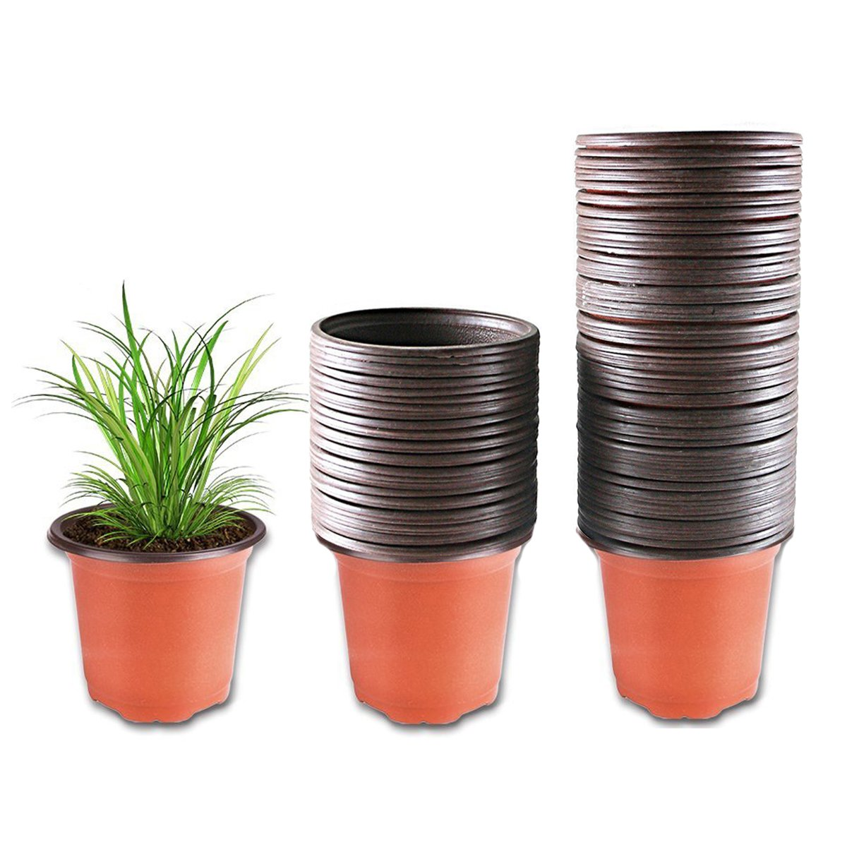 Plastic Plant Pot 100 Pack Flower Nursery Pots Starter Pot for Seedling Little Garden Pots to Repot Succulents and Small Plants by MiMiLive