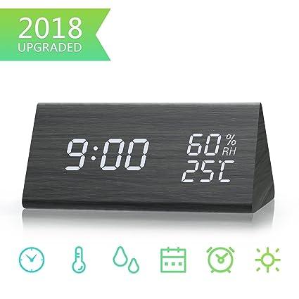 Bashley Despertador Digital, Reloj de Madera LED Que Muestra la Temperatura y la Humedad