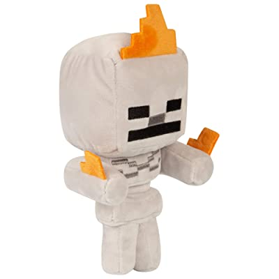 "JINX Minecraft Happy Explorer Skeleton On Fire Plush Stuffed Toy, Gray, 7"" Tall: Toys & Games"