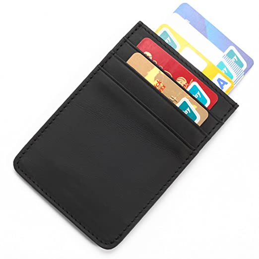 1c90d44f1b88 Mens Genuine Leather RFID Front Pocket Wallet Minimalist Magnetic Clip Card  Holder Multi-card Card
