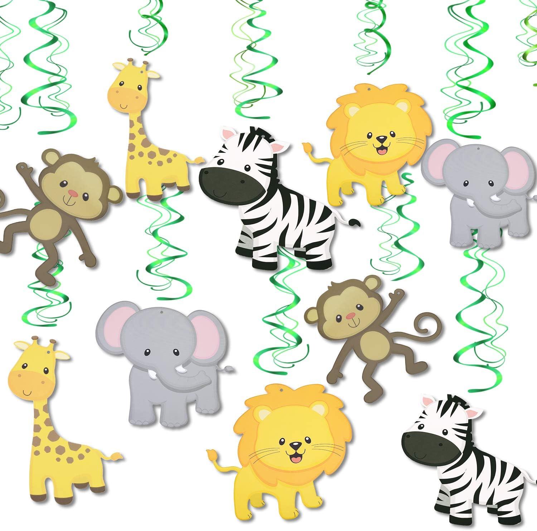 Konsait Jungle Animal Hanging Swirl Decoration(30Pack), Safari Theme Zoo Swirls Animals Birthday Party Spirals Home Ceiling Wall Decor for Woodland Farm Baby Shower Favor Supplies Decor