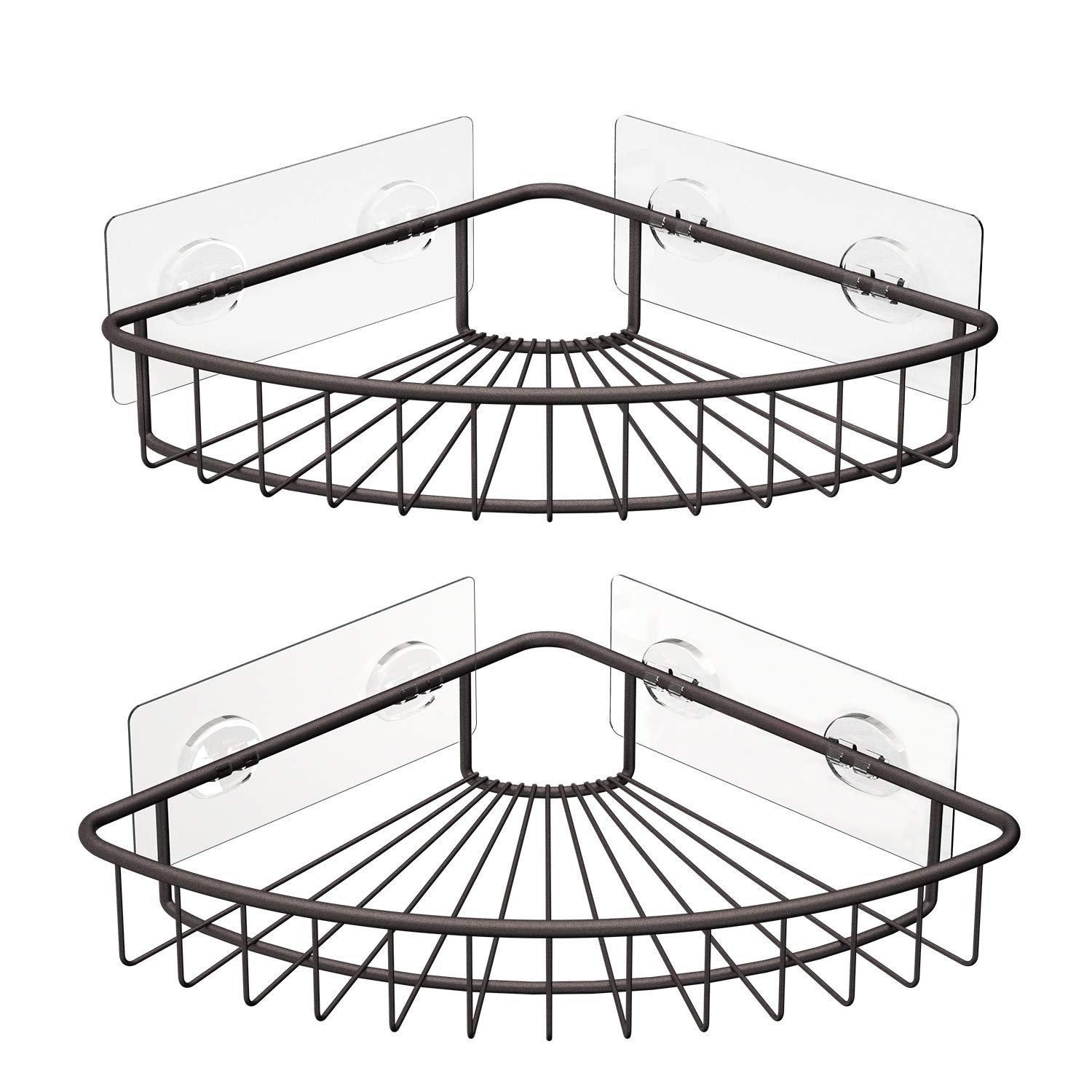 SMARTAKE 2-Pack Corner Shower Caddy, SUS304 Stainless Steel, Wall Mounted Bathroom Shelf with Adhesive, Storage Organizer for Toilet, Dorm and Kitchen (Bronze) by SMARTAKE