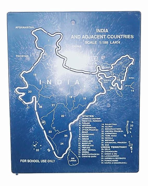 ISHARAA Plastic India Map Stencil (19 cm x 15 5 cm x 0 5 cm,Blue)