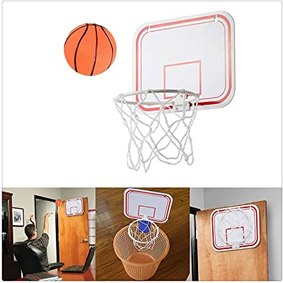 Basketball Hoop Over The Door Mount Indoor Hanging Free Punch Plastic, Indoor Mini Basketball Game,Mini Basketball Hoop for Door with Ball,Best Gift for Kids and Adults (White): Kitchen & Dining