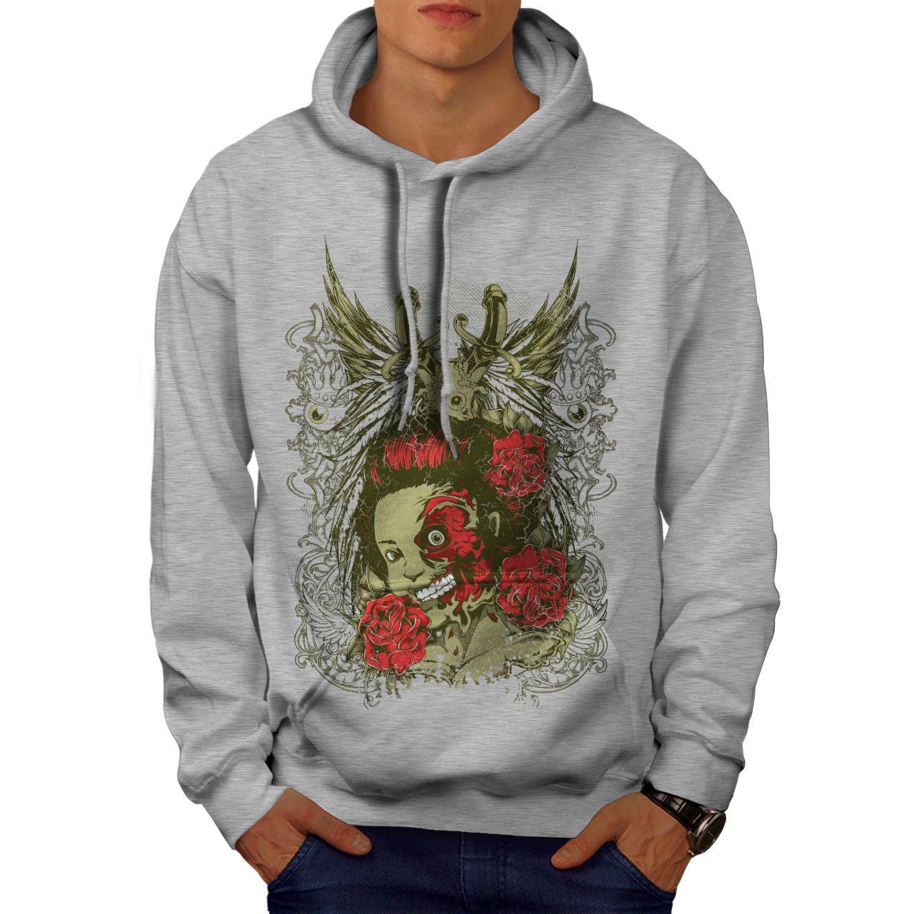 wellcoda Dead Girl Rose Zombie Mens Hoodie Head Hooded Sweatshirt
