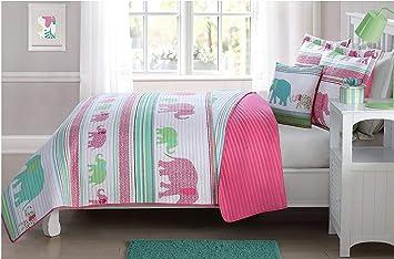 Fancy Linen Bedspread Coverlet Elephants Pink Green Blue Reversible New #  Elephants (Twin)