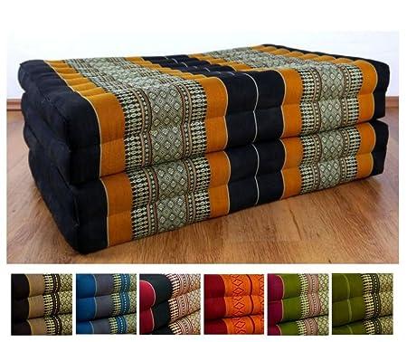 Livasia Folding Matress With 100 Natural Kapok Filling Day Bed Foldable Cushion Relaxation Black Orange