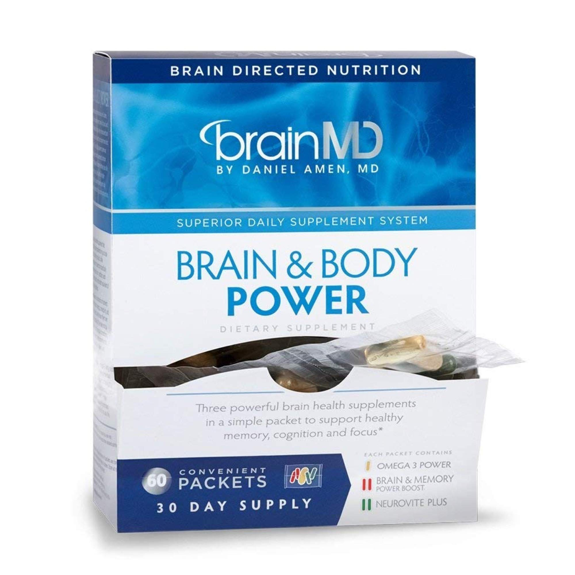 Dr. Amen brainMD Brain & Body Power - 300 Capsules - Complete Wellness Support Supplement, Promotes Recall & Retention, Focus, Emotional Balance & Positive Mood - 30 Day Supply