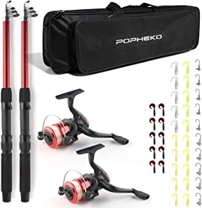 mouhike Telescopic Fishing Pole Combo Set, All-in-one 1.8m/5.9ft Full Kit 2PCS Collapsible Rods + 2PCS Spinning Reels + Fishing Lures + Fishing Bag, Perfect Fishing Kit Gift for Chindren Beginners