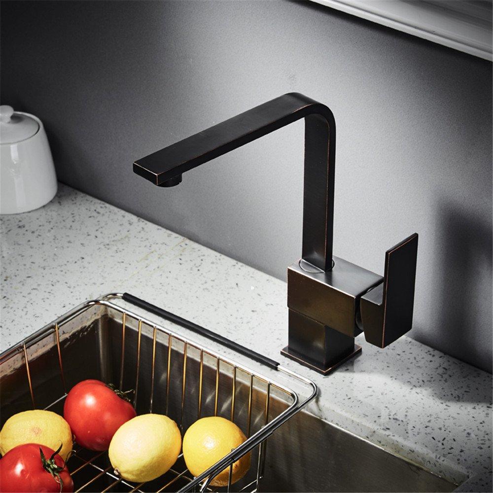 MMYNL Weißlese schwarzer kupferner drehender Küche heißer und kalter Mischer Wasserhahn Bad Armatur Waschtischmischer