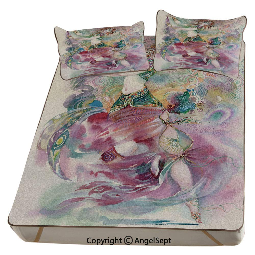 Watercolor,Summer Cooling Mat 3D Printing Foldable Folding Summer Ice Silk Cover Cool Mat with Pillowcase(Queen) Oriental Dance Theme Young Girl Performing in Traditional Costume Fantasy Figure by Homenon