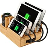 Bamboo Charging Station & Multi Device Organizer, Large Capacity Desktop Cord Organizer Dock for Smartphones iPhone iPad and Tablets--Durable and Eco-friendly (nature bamboo)