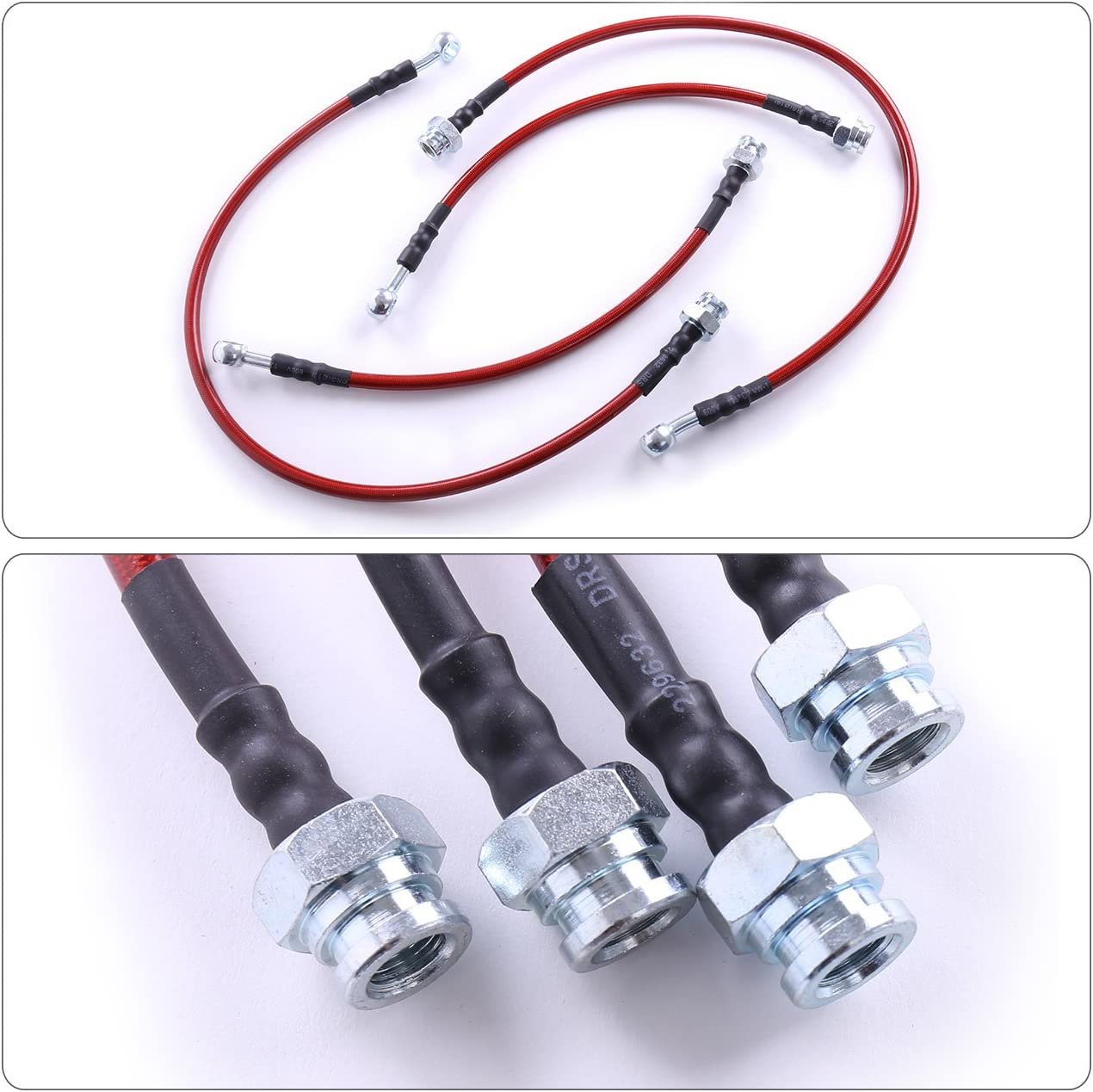 For Nissan 240SX S13 180SX 200SX Front Rear Red Stainless Steel Braided Oil Brake Line Cable Hose Black End Cap