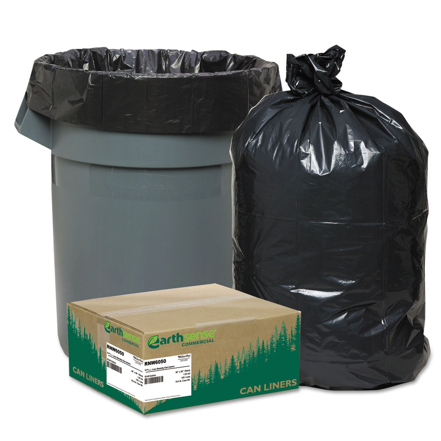 Earthsense Can Liners, 55-60 Gallons, 1.25 Milliliters, 38 x 58, Black, 100/Carton (RNW6050)