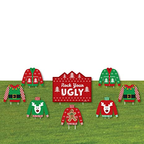 ugly sweater yard sign outdoor lawn decorations holiday christmas yard signs - Christmas Lawn Decorations Amazon