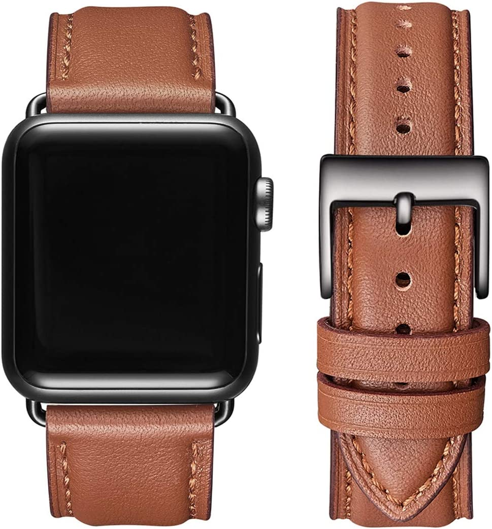 OMIU Square Bands Compatible for Apple Watch 38mm 40mm 42mm 44mm, Genuine Leather Replacement Band Compatible with Apple Watch Series 6/5/4/3/2/1, iWatch SE(Brown/Black Connector, 42mm 44mm)