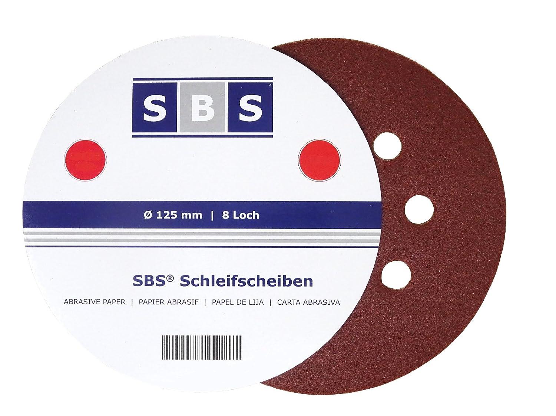 Pack of 100 Velcro-Backed Sanding Disks Diameter 125 mm 180-Grit for Eccentric Sanders 8 Holes SBS