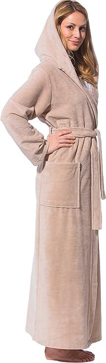 Morgenstern Bademantel Damen mit Kapuze extra lang