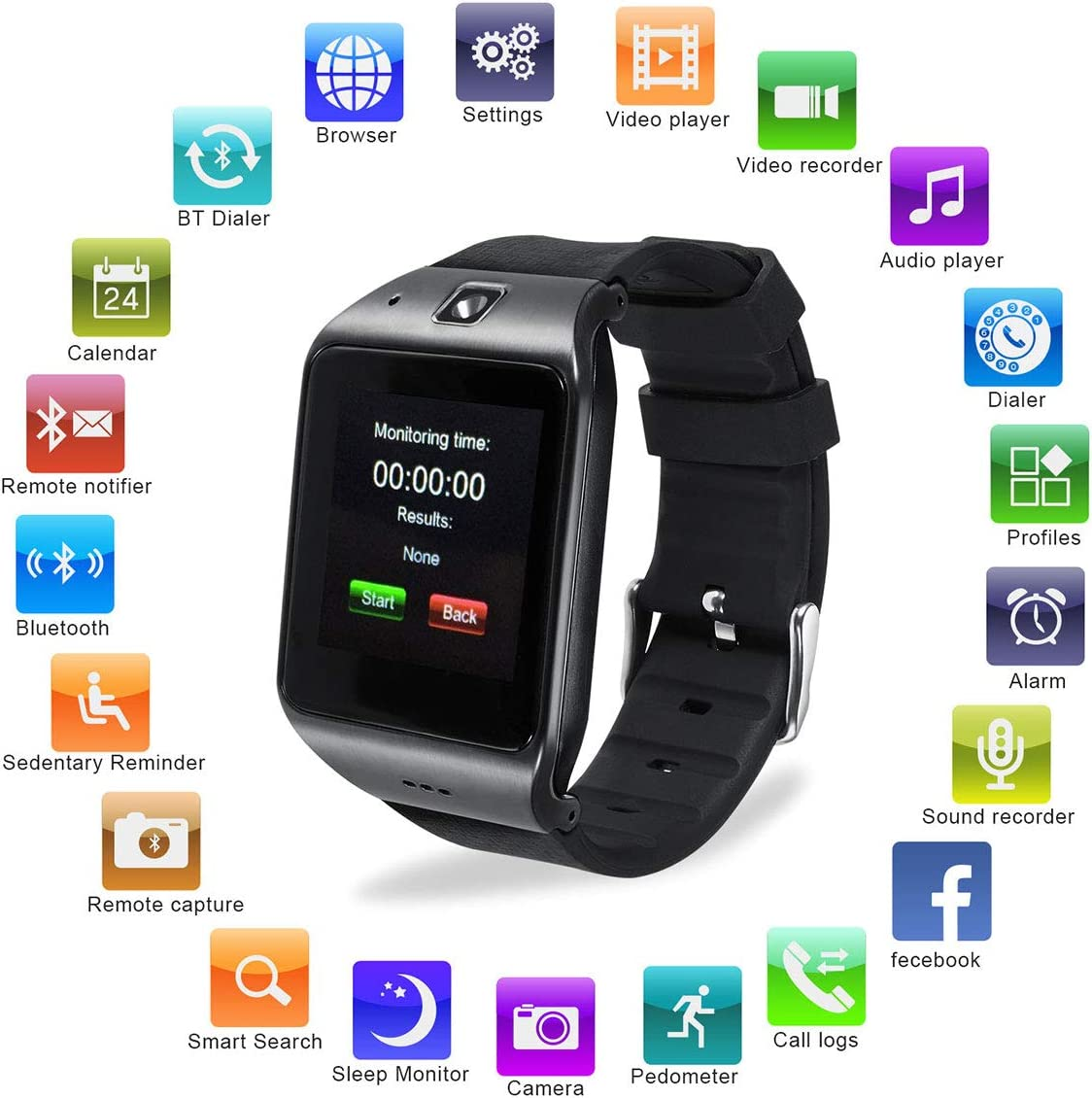 Reloj Inteligente, [Regalo] HAMSWAN Smartwatch Bluetooth para ...