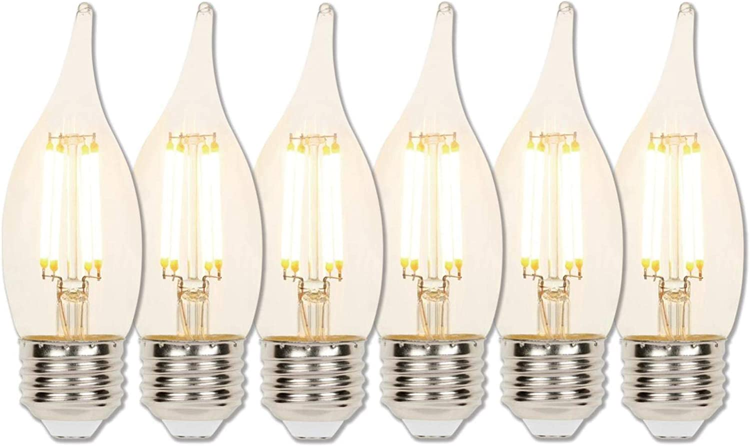 Westinghouse Lighting 5114000 40-Watt Equivalent Ca11 Dimmable Clear Filament Led Light Bulb with Medium Base 2 Pack,
