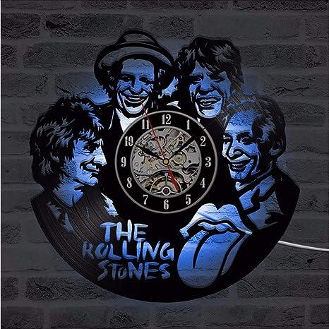 Wmbz CD Reloj De Pared Led The Rolling Stone Banda Relojes Clásicos Siete Colores Cambian Diseño