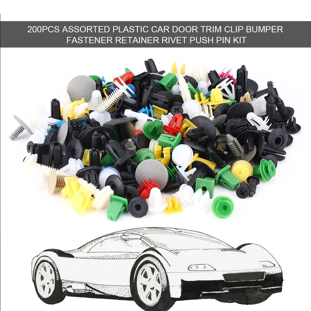 Elerose 200pcs Plastique Voiture Attache Porte Garniture Clip Pare-chocs Retainer Revet Kit de Goupille Couleur Al/éatoire