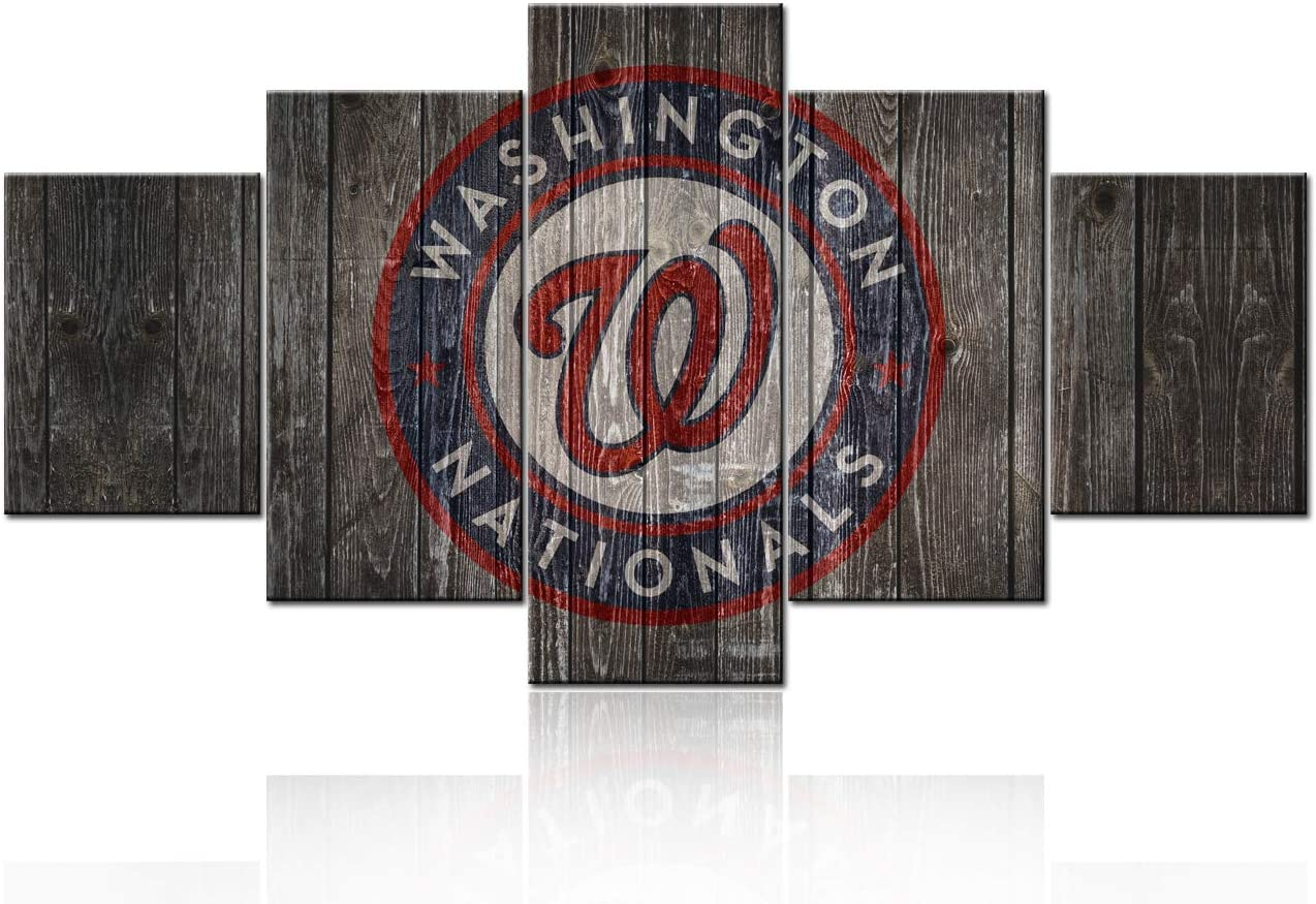 TUMOVO Washington Nationals Logo Pictures Sport Paintings Major League Baseball Wall Art 5 Pcs/Multi Panel Canvas Colombia USA Artwork Home Decor for Living Room Framed Ready to Hang(60Wx32H inches)