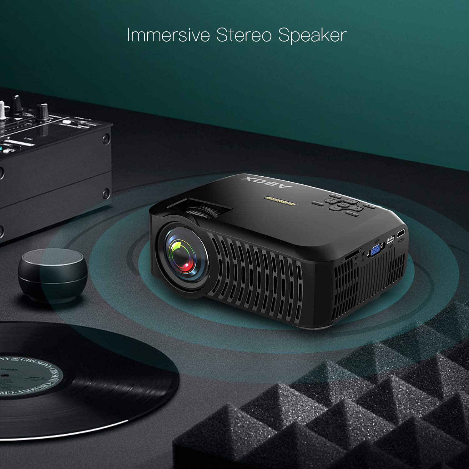 Projector, ABOX A2 LED Movie Video Projector with Full HD Native 720p, 100 ANSI Lumen, 180'' Big Screen, Hifi Speaker, Support 1080p with HDMI/USB/SD Card/VGA/AV Ports For Home Theater/Laptop/TV/Phones by GooBang Doo (Image #5)