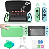 FASTSNAIL Accessories Bundle for Nintendo Switch 12 in 1 Essential Carrying Game Bag for Switch with Joy Con Grips, Tempered