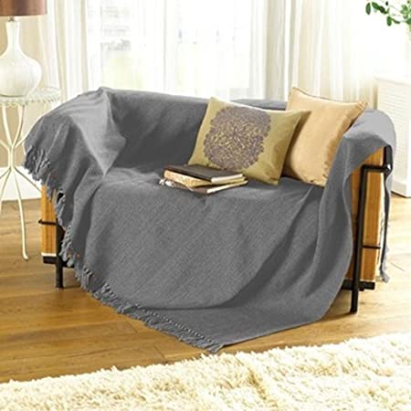 Collie ZigZag Charcoal Grey Bed Chair Sofa Settee Cotton Throw Blanket With  Tassels Extra Large 228cm x 254cm
