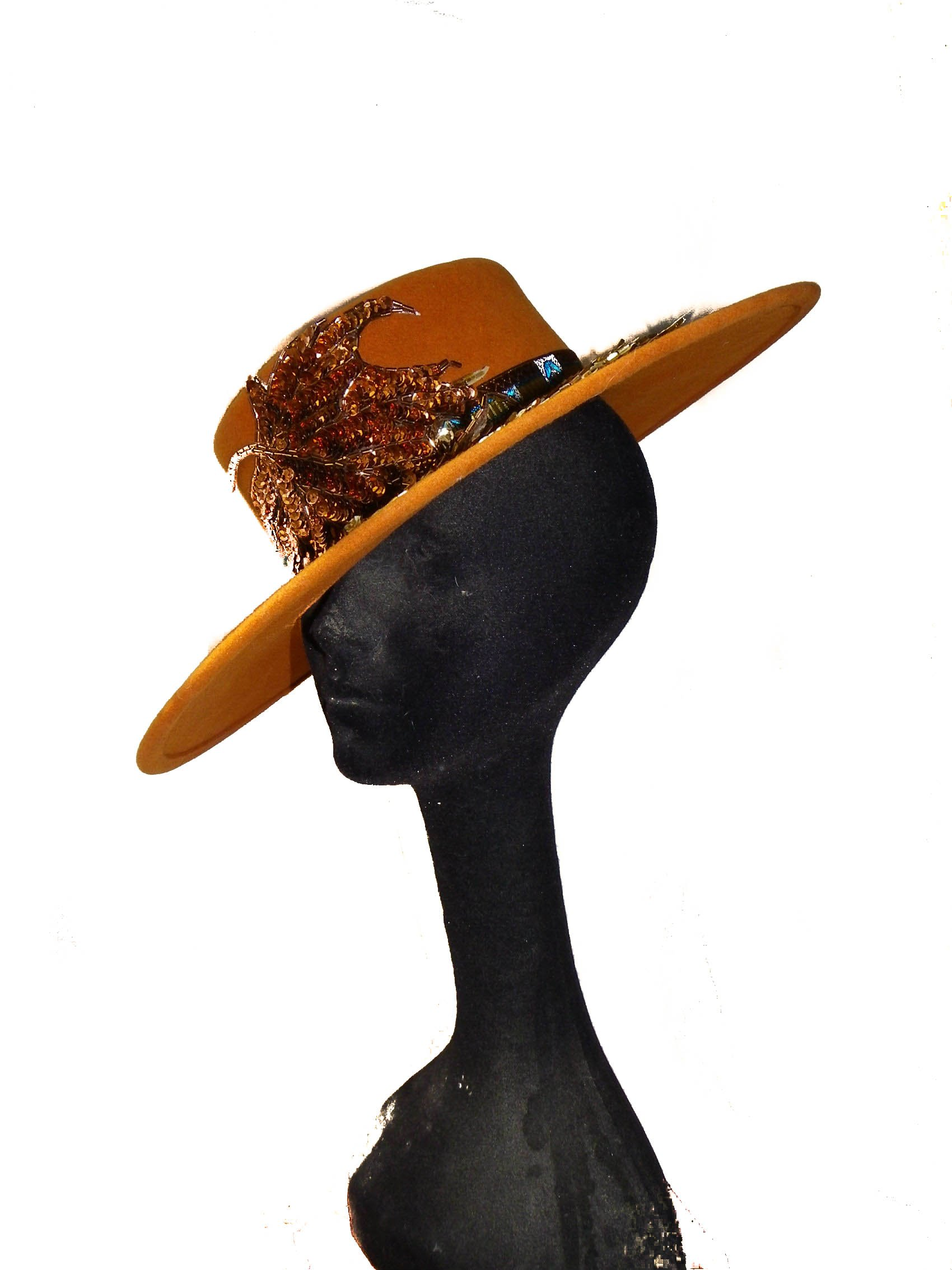 Style Of Individuality Wide Brim Wool Felt Hat In FALL'S Pumpkin, West's Turquoise, With Sparkles! by Style Of Individuality (Image #8)