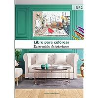 Libro para colorear Decoración de interiores N°2: 40 páginas para colorear de gran formato | adultos y niños | diseño…