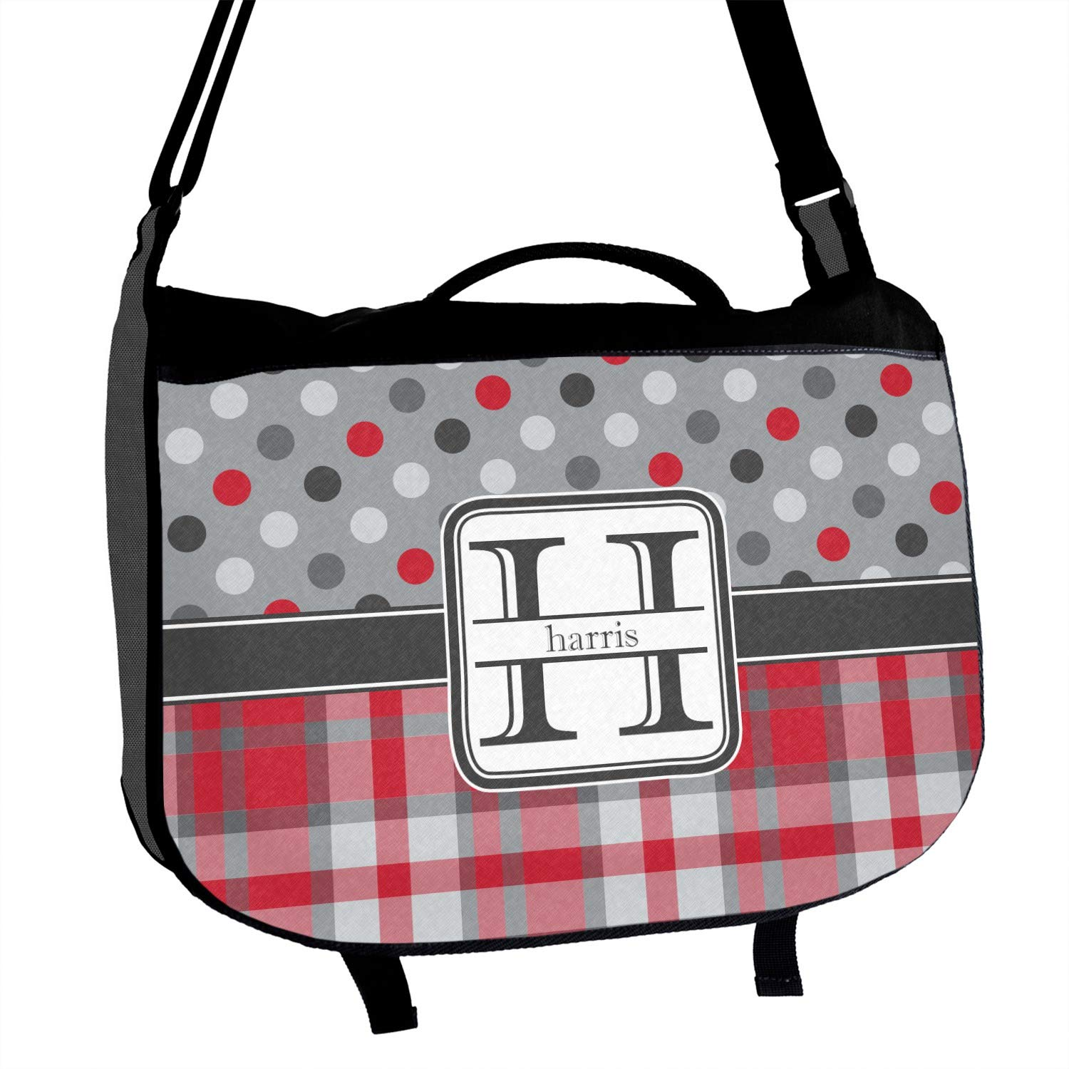 Red /& Gray Dots and Plaid Messenger Bag Personalized