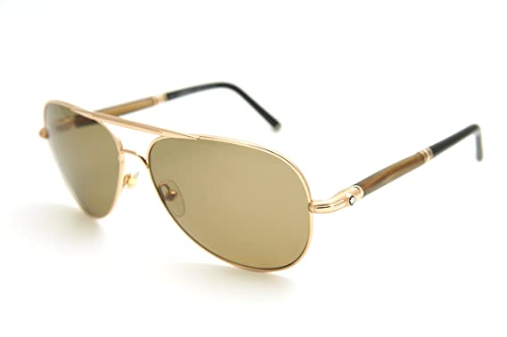 361e491fb7 Mont Blanc Authenticity 519S 519 S 28M Gold Brown  Polarized Aviator  Sunglasses 61mm
