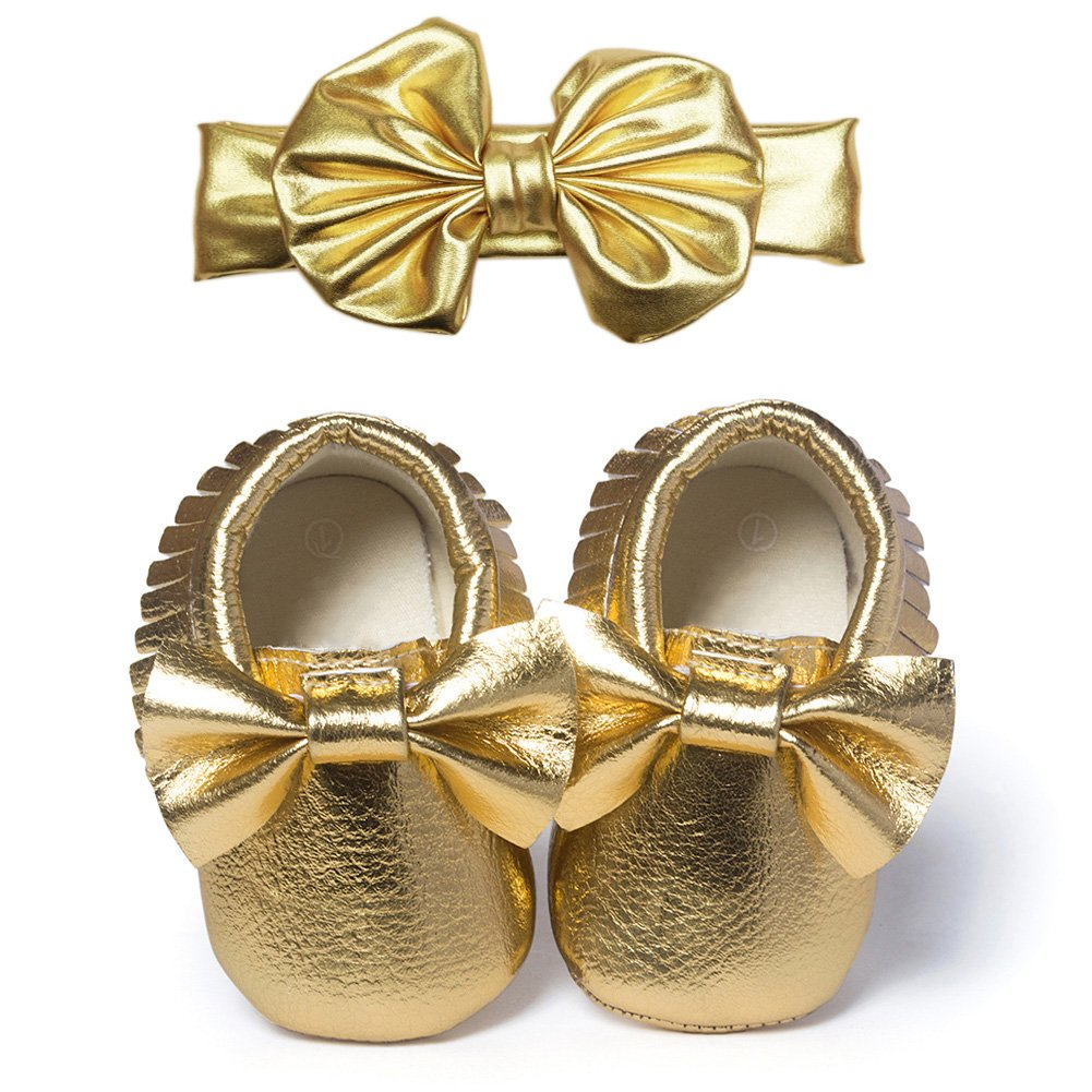 YOHA Infant Baby Girls PU Moccasins Bow Tassels Toddler Shoes with Elastic Bow Headband Set Golden,12