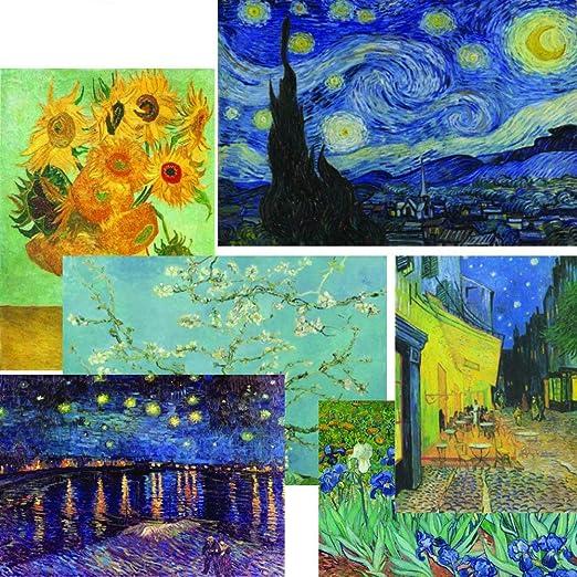 Vincent Van Gogh Painter Starry Night Sunflower Themed 50 Pcs Sticker Decal Set