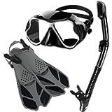 Zenoplige Mask Fins Snorkel Set Adults Men Women, Swim Goggles 180 Panoramic View Anti-Fog Anti-Leak Dry Top Snorkel and…