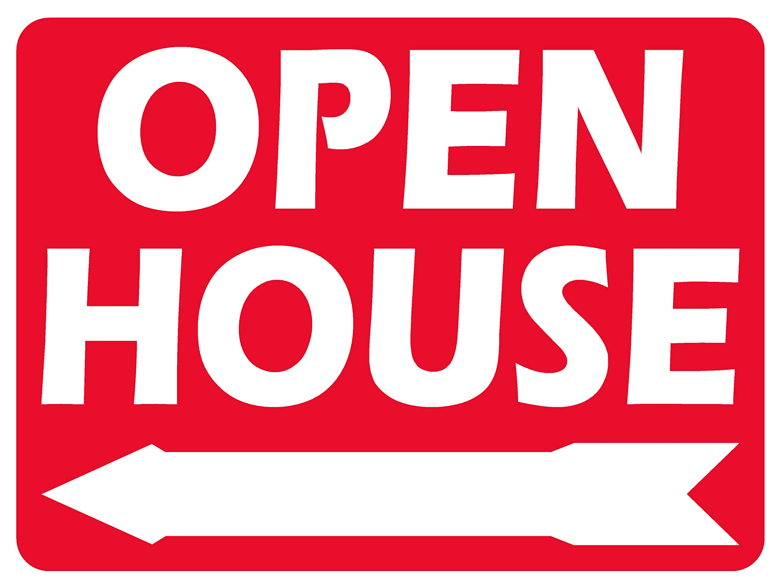 10 Open House White Signs Red Print 2sides 18x24 & Stakes 10x30