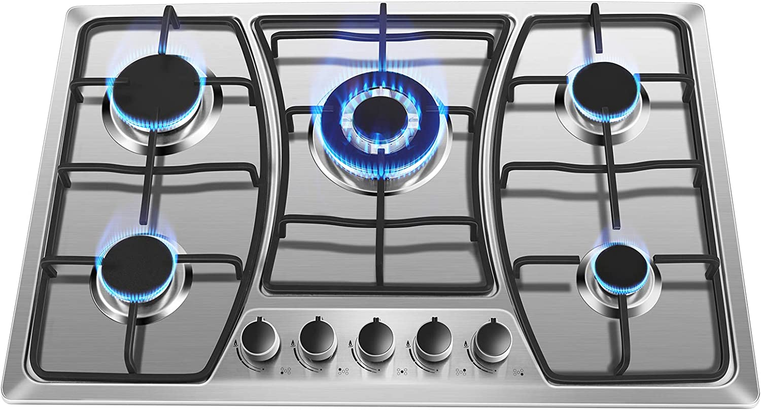 30 inch Gas Stove Cooktop with 5 Burner Built-in Gas Cooker NG LPG Convertible Stainless Steel Gas Cooktop 5 Italy Sabaf Sealed Burners for Home Kitchen Thermocouple Protection Use Easy to Clean