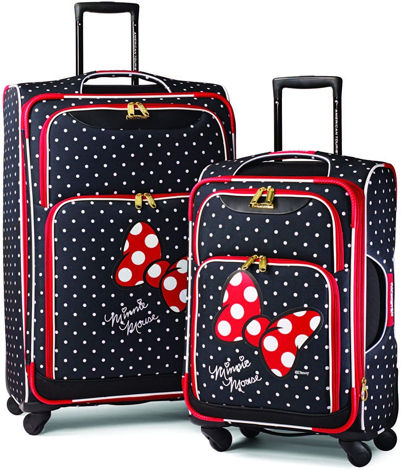 American Tourister Disney Softside Luggage with Spinner Wheels Minnie Mouse Red Bow