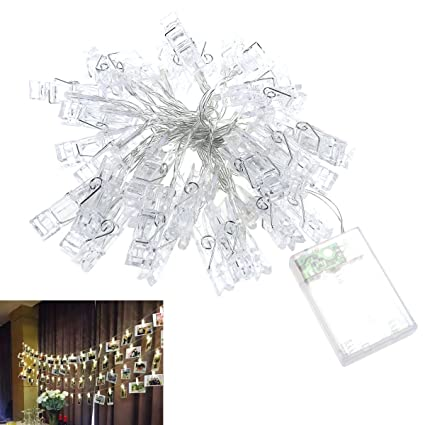 LEDMOMO 4.2M Clip String Lights Battery Operated Decorative 40 LED Light  Ropes And Strings For