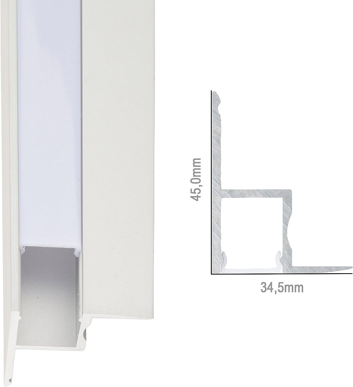 Perfíl de Aluminio para LEDS Instalación Techos Falsos - Difusor Opal -Tira de 1 Metro: Amazon.es: Iluminación