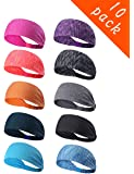 Epomay 10 Pack Women's Yoga Sport Athletic Workout Headband Sweatband for Running Sports Working Fitness - Elastic Stretchy Moisture Wicking Non Slip Sweatbands Headbands Headscarf for Men & Women