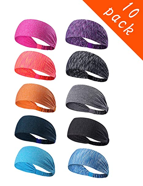 Epomay 10 Pack Womens Yoga Sport Athletic Workout Headband Sweatband for Running Sports Working Fitness - Elastic Stretchy Moisture Wicking Non Slip ...