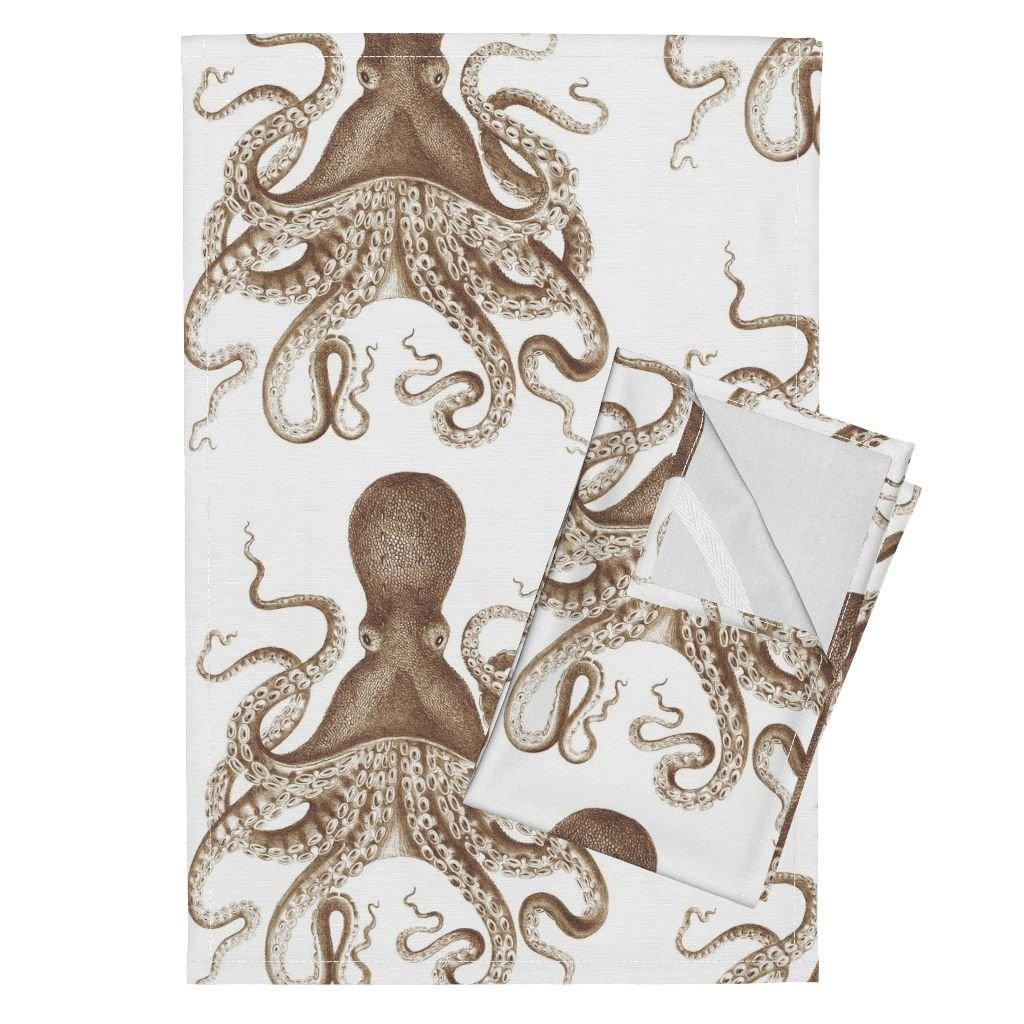 Roostery Spa Ikat Tea Towels Octopus Oasis in Sepia by Willowlanetextiles Set of 2 Linen Cotton Tea Towels