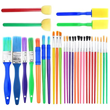 Fjsm 30 Pieces Artist Watercolor Acrylic Paint Brushes Set Creative Craft Paint Brushes Kit Plastic Colored Handle For Children Toddler For Fabric