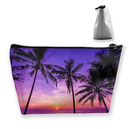 Palmeras tropicales Puesta de sol púrpura en la playa del ...