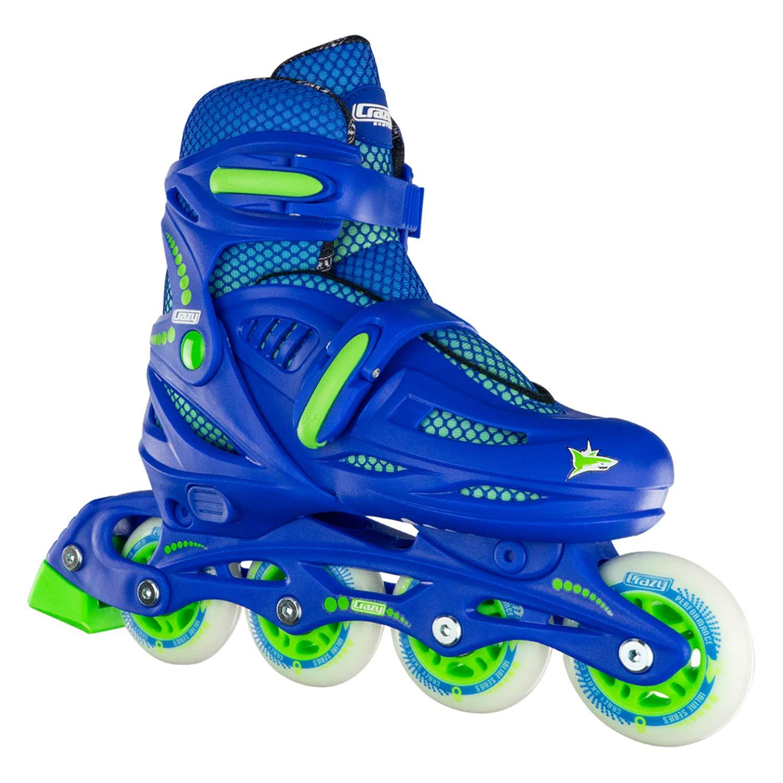 Crazy Skates Adjustable Inline Skates for Boys - Beginner Kids Roller Blades - Blue with Lime (Large/Sizes 5-8)