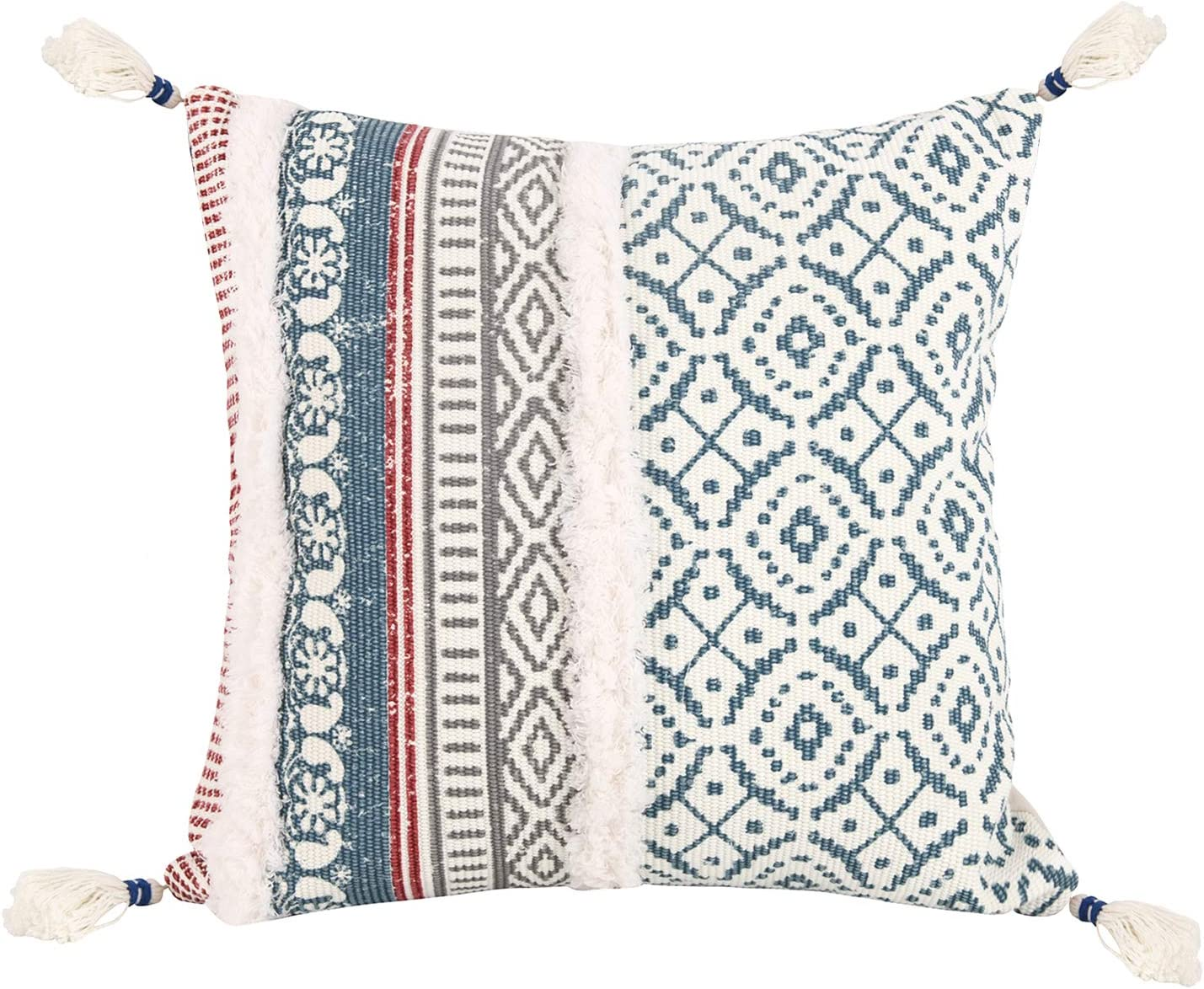 Merrycolor Tufted Decorative Throw Pillow Cover For Couch Sofa Woven Boho Tribal Pillow Cases With Tassel Square Cushion Cover Moroccan Style Accent Pillow 18x18 Inches Blue Home Kitchen