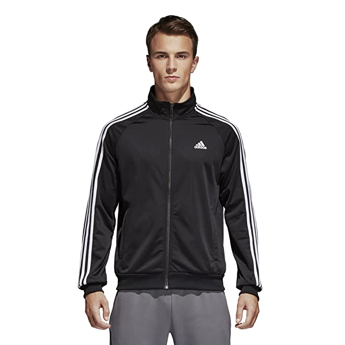 18b047fc66d adidas Men's Essentials 3-Stripe Tricot Track Jacket, Black/White, Small